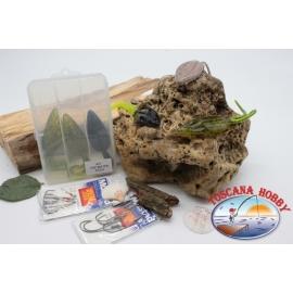 Caja surtido con las ranas y los ratones de silicona de Yo-zuri 14cm + Mustad FC.S43
