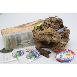 Box assortito pesciolini siliconici Yo-zuri 14cm + ami Mustad FC.S45