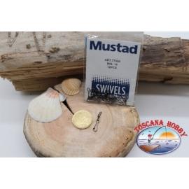 1 sachet de 12 pcs. mousquetons Mustad série 77550 sz. 14 FC.G11