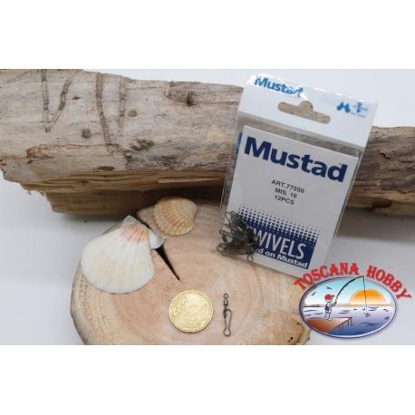 1 Paquete de 12 unidades. mosquetones Mustad serie 77550 sz. 16 FC.G12