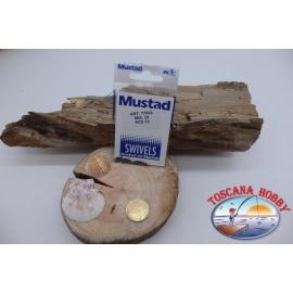 1 Packet of 12 pcs. of swivels Mustad series 77503 sz. 22 FC.G33