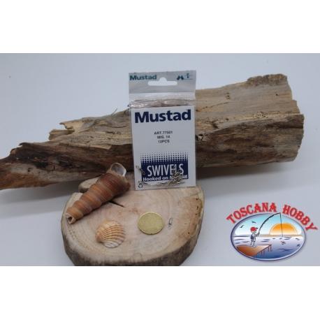 1 Packet of 12 pcs. of swivels Mustad series 77501 silver sz. 14 FC.G51