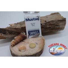 1 Packet of 12 pcs. of swivels Mustad series 77501 silver sz. 10 FC.G52