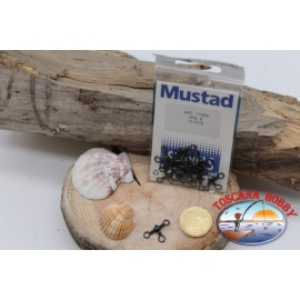 1 Sachet, 12 pcs. of swivels Mustad series 77505 black sz.8 FC.G70