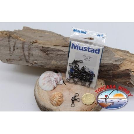 1 Sachet, 12 pcs. of swivels Mustad series 77505 burnished sz.4 FC.G71