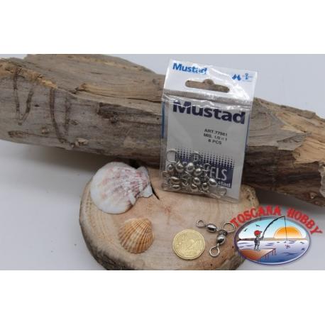 1 Päckchen mit 6 stk. der haken Mustad-serie 77561 silver sz.1/0x1 FC.G72