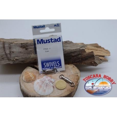 1 Packet of 2 pcs. of swivels Mustad series 77559 silver sz.7 FC.G80