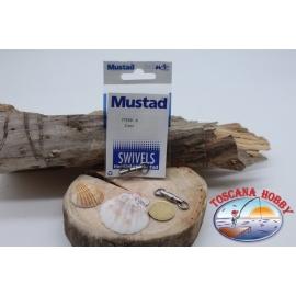1 Bustina 2 pz. di girelle con cuscinetto Mustad serie 77559 silver sz.6 FC.G81