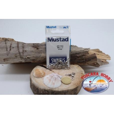 1 Bag 6 pcs. of swivels Mustad series 77561 sz.1x2 FC.G82