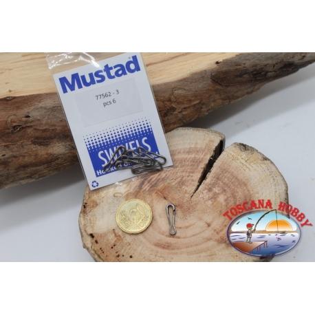 1 Beutel mit 6 stck. haken-schnellverschluss-Mustad-serie 77562 sz. 3 FC.G95