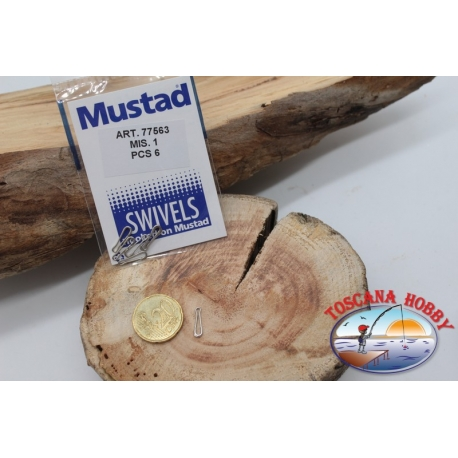 1 Bag of 6 pcs. hooks and quick-release Mustad series 77563 sz. 1 FC.G96