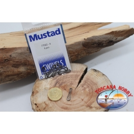1 Bag of 6 pcs. hooks and quick-release Mustad series 77562 sz. 4 FC.G98