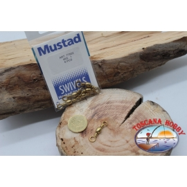 1 Bag of 6 pcs. of swivels Mustad series 77502 gold sz.1 FC.G105