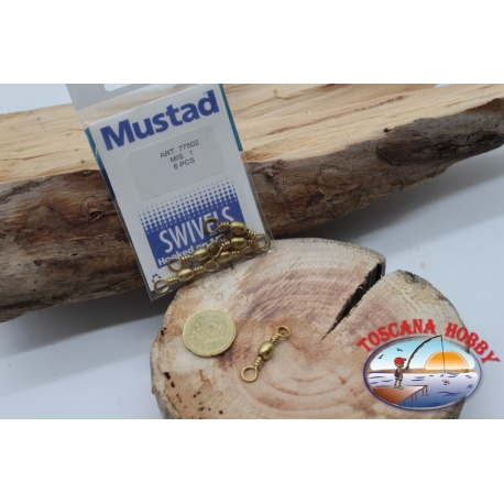 1 Bag of 6 pcs. of swivels Mustad series 77502 gold sz.1 FC.G105