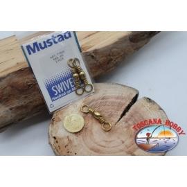 1 Paquet de 2 pcs. des émerillons Mustad série 77502 or sz.4/0 FC.G106
