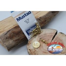 1 Bag of 6 pcs. of swivels Mustad series 77502 gold sz.1/0 FC.G107