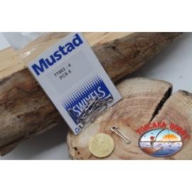 1 Bolsa de 6 unidades. mosquetones Mustad serie 77563 sz.4 FC.G108