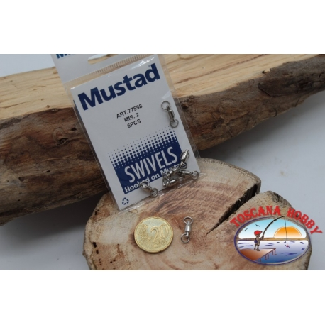 1 Bag of 6 pcs. of swivels Mustad series 77558 sz.2 FC.G112