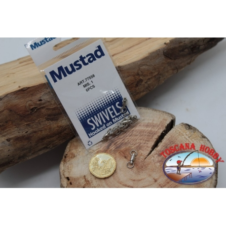 1 Bag of 6 pcs. of swivels Mustad series 77558 sz.1 FC.G113