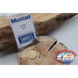 1 Packet of 12 pcs. of swivels Mustad series 78004 sz.18 FC.G114