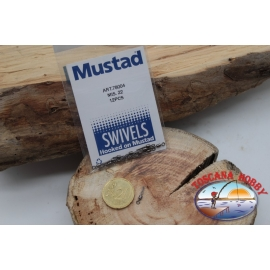 1 Packet of 12 pcs. of swivels Mustad series 78004 sz.22 FC.G115