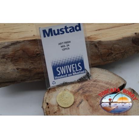 1 Bustina da 12 pz. di girelle Mustad serie 78004 sz.24 FC.G116