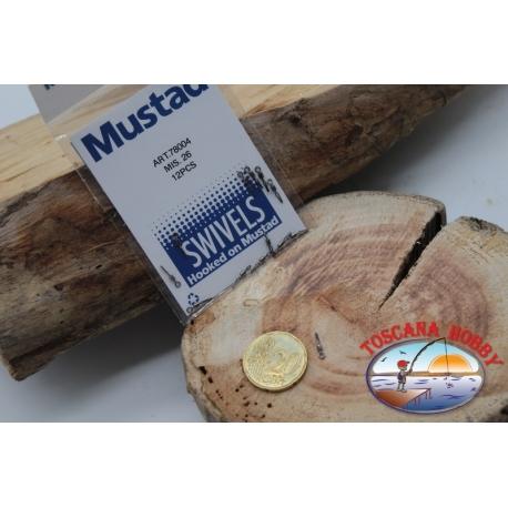 1 Packet of 12 pcs. of swivels Mustad series 78004 sz.26 FC.G117
