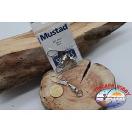 1 Paquet de 2 pcs. mousquetons Mustad série 77557 sz.8 FC.G129