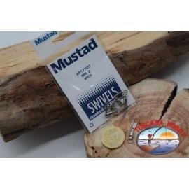 1 Bustina 4 pz. di girelle con  moschettone Mustad serie 77557 sz.2 FC.G131
