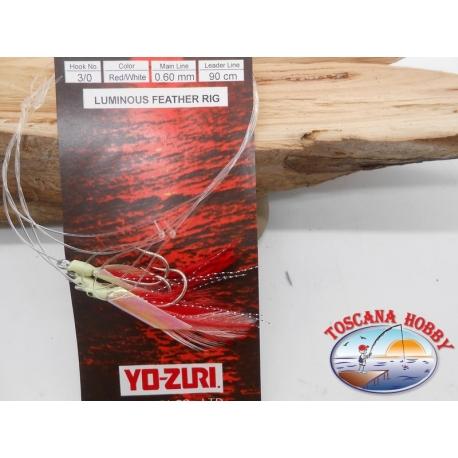Sabiki Rosso Yo-zuri filo 0,60 lunghezza 90cm 3 ami mis.3/0 FC.A135