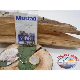 1 Packung 7pz angelhaken Mustad cod. 34007 sz.3/0 stahl mit öse FC.A220