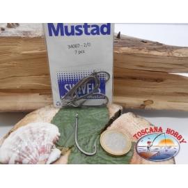 1 Packung 7pz angelhaken Mustad cod. 34007 sz.2/0 stahl mit öse FC.A221