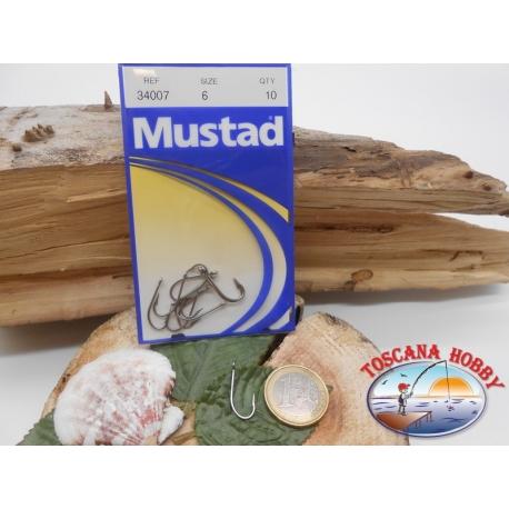 1 Packung mit 10st angelhaken Mustad cod. 34007 sz.6 stahl-mit öse FC.A222