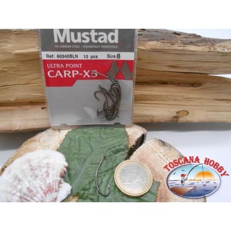 1 Paquete de 10 piezas Mustad-cod. 60540BLN sz.8 con la corona de FC.A223