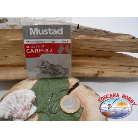 1 Paquete de 10 piezas Mustad-cod. 60540NPBLN sz.8 con la corona de FC.A223B