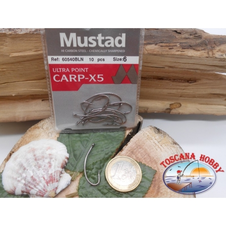 1 Packung mit 10st angelhaken Mustad cod. 60540BLN sz.6 mit öse FC.A224