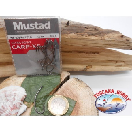 1 Pack of 10pcs Mustad cod. 60540NPBLN sz.4 with crown FC.A225