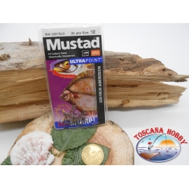 1 Pack of 25 pcs Mustad cod. 3261BLN sz.12 aberdeen and crown FC.A227