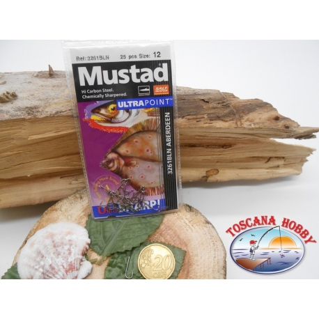 1 Packung 25pz angelhaken Mustad cod. 3261BLN sz.12 aberdeen mit öse FC.A227