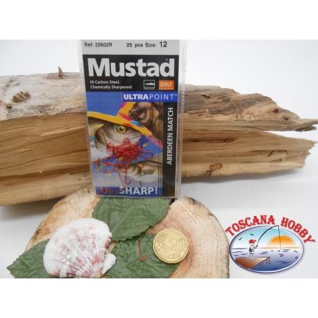 1 Paquete de 25 pcs Mustad-cod. 32602R sz.12 Rojo con la corona de FC.A228