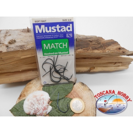 1 Pack of 10pcs Mustad cod. 496 sz.3/0 with the headstock FC.A229