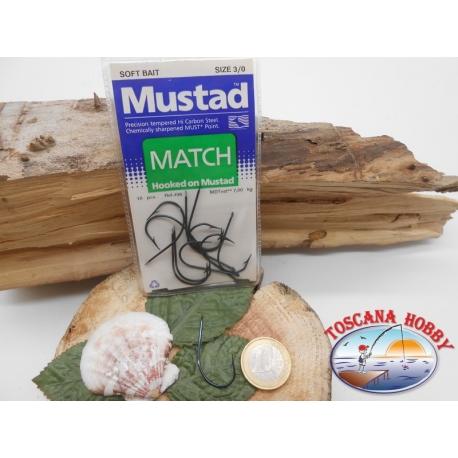 1 Paquete de 10 piezas Mustad-cod. 496 sz.3/0 con el cabezal FC.A229