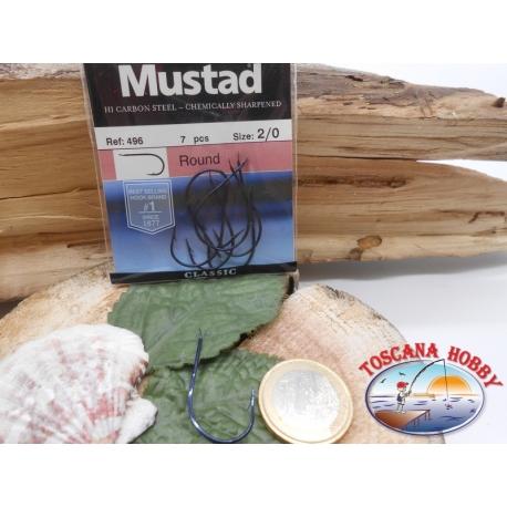 1 Caja de 7pz Mustad-cod. 496 sz.2/0 con el cabezal FC.A230