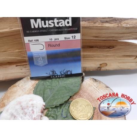 1 Paquete de 10 piezas Mustad-cod. 496 sz.12 con el cabezal FC.A231