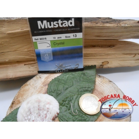 1 Pack of 10pcs Mustad cod. 90316 sz.13 with the headstock FC.A234