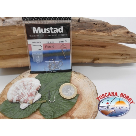 1 Pack of 10 pcs Mustad cod. 287N sz.8 with the headstock FC.A237