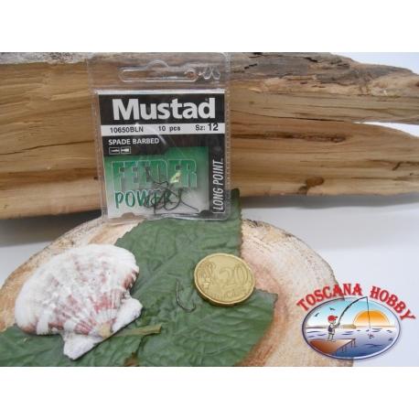 1 Packung mit 10 stk. angelhaken Mustad cod. 10650BLN sz.12 mit schaufel FC.A238