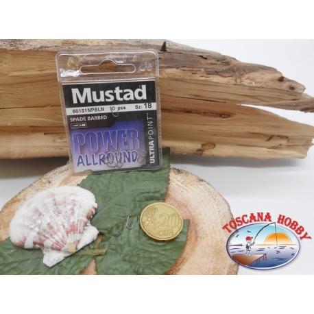 1 Pack de 10 uds Mustad-cod. 60151NPBLN sz.18 con el cabezal FC.A243