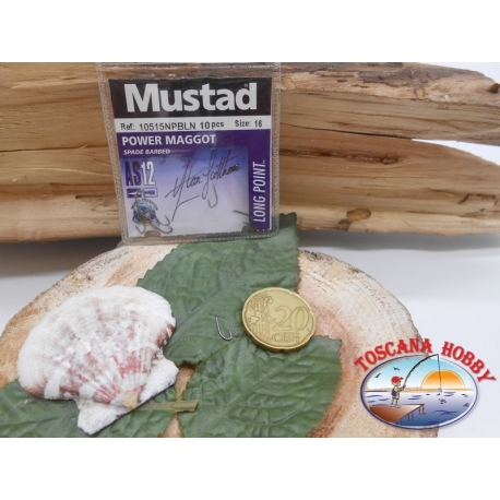 1 Packung mit 10 stk. angelhaken Mustad cod.10515NPBLN sz.16 mit schaufel FC.A244