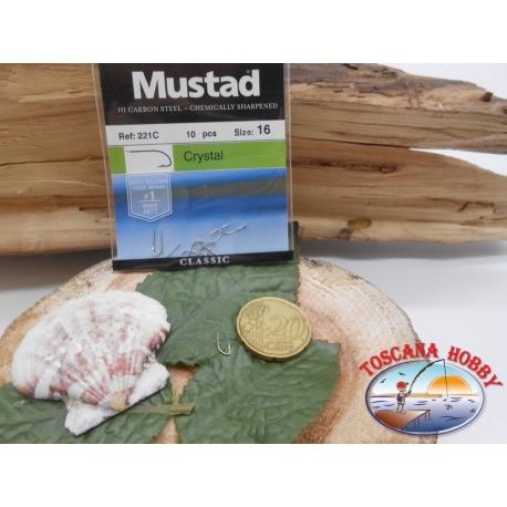 1 Confezione da 10 pz ami Mustad cod.221C sz.16 con paletta FC.A245